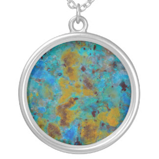 Spotted Blue Chrysocolla Jasper Silver Plated Necklace