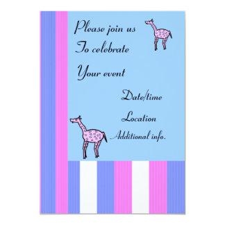 "Spotted blue pink giraffe invitations 5"" x 7"" invitation card"