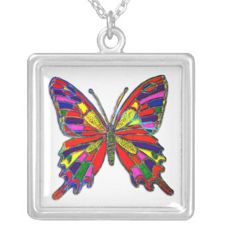 Spotted Butterfly Square Pendant Necklace