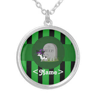 Spotted Chihuahua with Grave Stone & Green Stripes Round Pendant Necklace