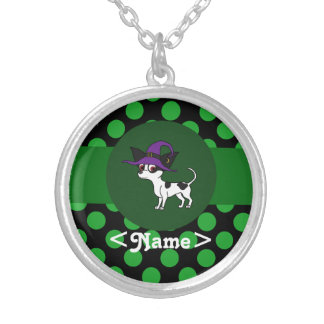 Spotted Chihuahua with Green Dots Round Pendant Necklace