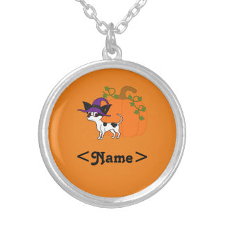 Spotted Chihuahua with Halloween Pumpkin Round Pendant Necklace