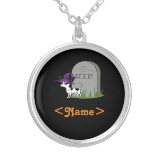 Spotted Chihuahua with RIP Grave Stone Round Pendant Necklace