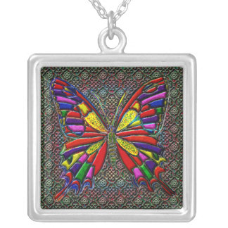 Spotted Colorful Butterfly Square Pendant Necklace