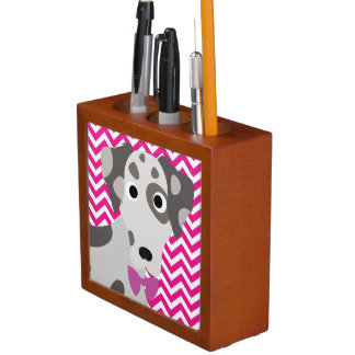 Spotted Dog Hot Pink and White Chevron Pattern Desk Organiser