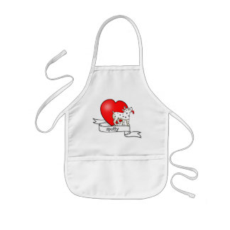 Spotted Dog with Banner Heart - Child's Apron