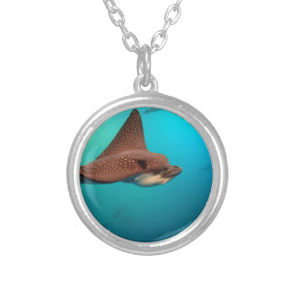 Spotted eagle rays Galapagos Islands Round Pendant Necklace