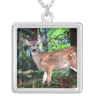 Spotted Fawn Square Pendant Necklace