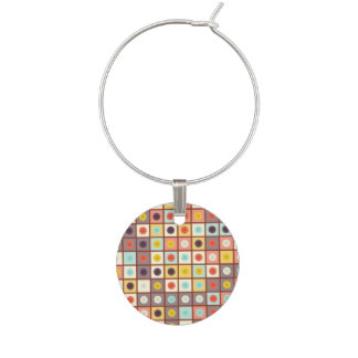 Spotted geometric pattern wine glass charms