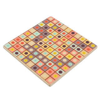 Spotted geometric pattern wood coaster