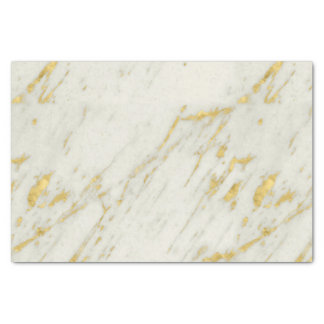 Spotted Gold Glitter Over White Marble Tissue Paper
