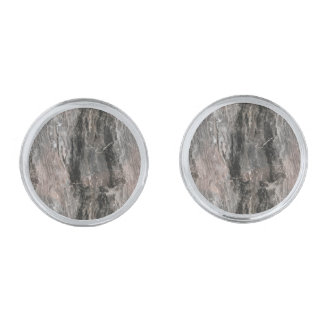Spotted Gray Tones Marble Stone Silver Finish Cufflinks