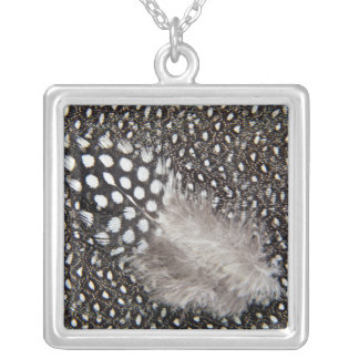 Spotted Guinea fowl feather Silver Plated Necklace