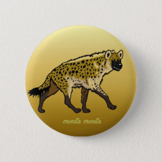 spotted hyena 6 cm round badge