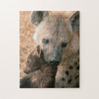 Spotted Hyena (Crocuta Crocuta) With Pup Jigsaw Puzzle