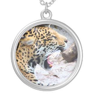 Spotted Jaguar painted image Round Pendant Necklace