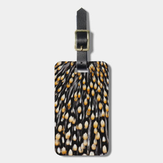 Spotted jungle cock feathers luggage tag