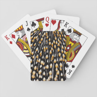 Spotted jungle cock feathers playing cards