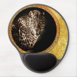 Spotted leopard looking at you with gold foil gel mouse pad