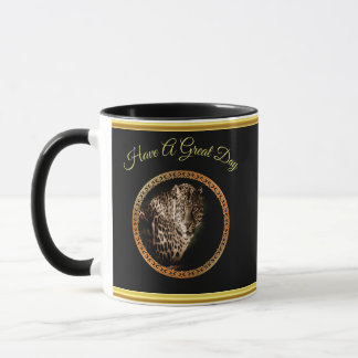 Spotted leopard looking at you with gold foil mug