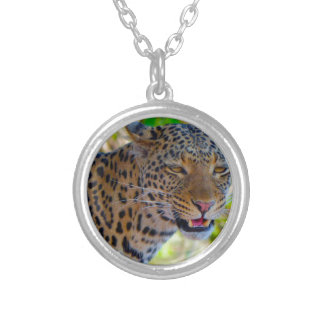 Spotted Leopard Silver Plated Necklace