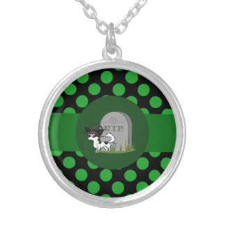Spotted Long Hair Chihuahua with Grave Stone Round Pendant Necklace