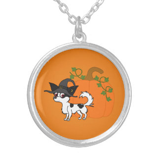 Spotted Long Haired Chihuahua with Pumpkin Round Pendant Necklace