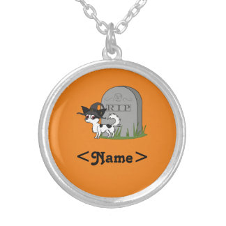 Spotted Long Haired Chihuahua with RIP Grave Stone Round Pendant Necklace
