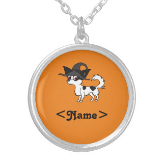 Spotted Long Haired Chihuahua with Witch Hat Round Pendant Necklace
