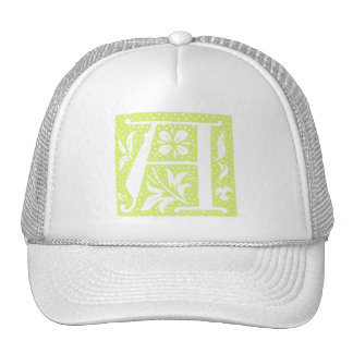 Spotted Pale Green Letter A Monogram Cap