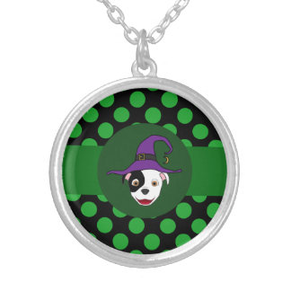 Spotted Pitbull Witch with Green Dots Round Pendant Necklace