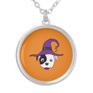 Spotted Pitbull with Witch Hat Round Pendant Necklace