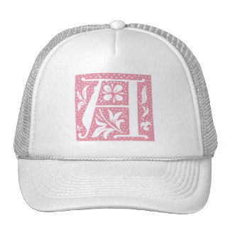 Spotted Raspberry Letter A Monogram Cap