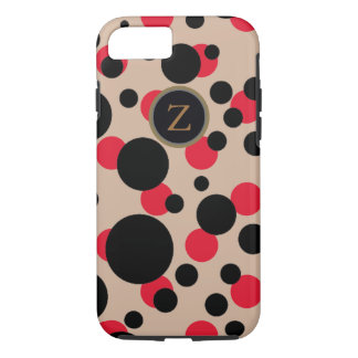 spotted red & black monogrammed iPhone 8/7 case