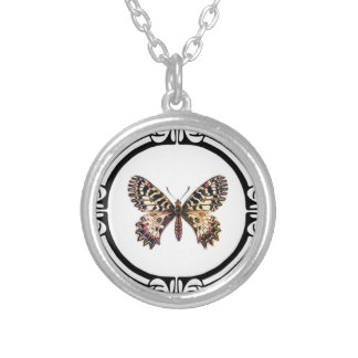 spotted ringed butterfly silver plated necklace