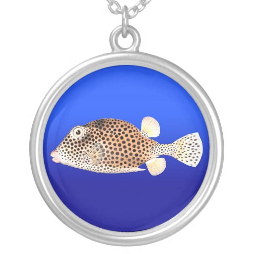 Spotted Trunkfish on Blue - Necklace