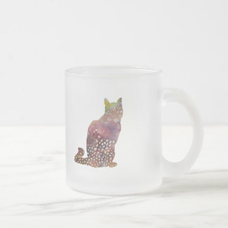 spotty cat frosted glass coffee mug