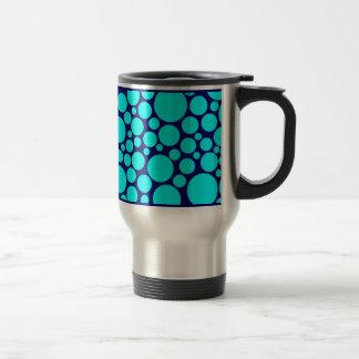 Spotty Cyan on Dark Blue 15 Oz Stainless Steel Travel Mug