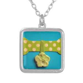 Spotty Dog Bone - B Square Pendant Necklace