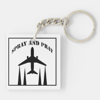 spray-and-pray chemtrails Double-Sided square acrylic key ring