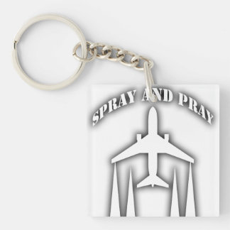 spray-and-pray chemtrails Double-Sided square acrylic keychain