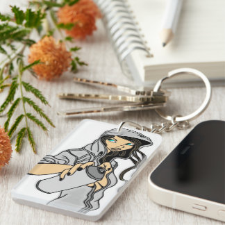 Spray Can Double-Sided Rectangular Acrylic Key Ring