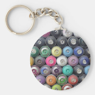 Spray cans basic round button key ring