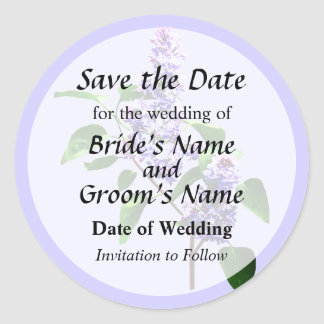 Spray of Lilacs Save the Date Round Sticker
