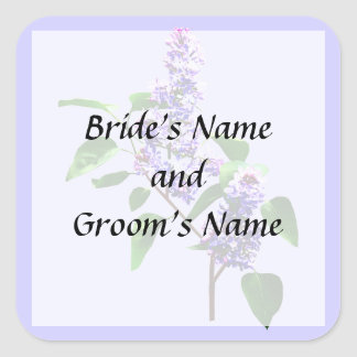 Spray of Lilacs Save the Date Square Sticker
