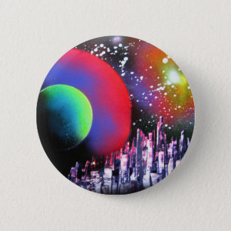 Spray Paint Art City Space Landscape Painting 6 Cm Round Badge