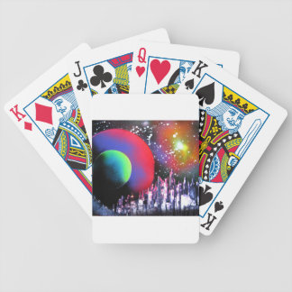 Spray Paint Art City Space Landscape Painting Bicycle Playing Cards