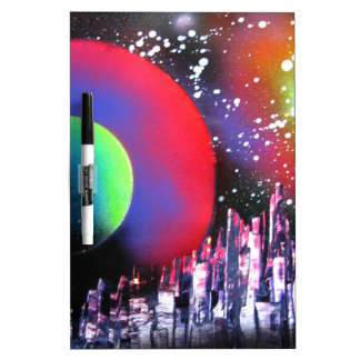 Spray Paint Art City Space Landscape Painting Dry Erase Whiteboards