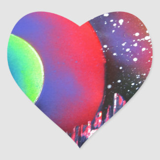 Spray Paint Art City Space Landscape Painting Heart Sticker