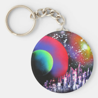 Spray Paint Art City Space Landscape Painting Key Ring